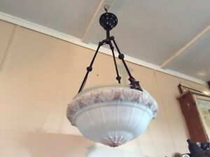 Antique Victorian Hanging Chandelier Bowl Light Late 1800s Gas Converted To Elec