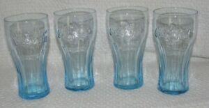 Coca Cola McDonalds Glass 4ct Set Ice Blue Coke Drinking Glasses