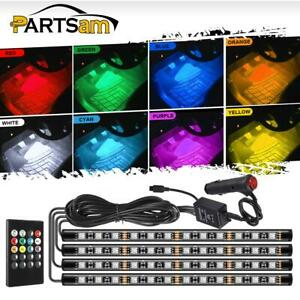 4x12led Car Under Dash Lighting Kit Multi Color Car Floor Atmosphere Led Strip