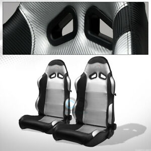 Universal Sp Black Silver Pvc Leather Stitch Reclinable Racing Seats Slider Pair