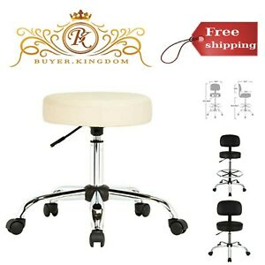 Multi Purpose Adjustable Office Drafting Spa Stool With Wheels Bonded Leather