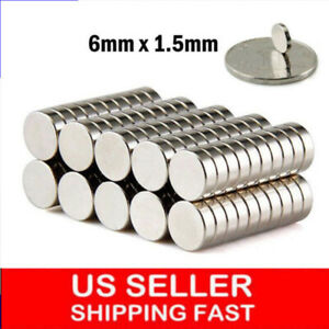 Lot 25 100 6 1 5mm 1 4 1 16 Inch Neodymium Disc Strong Rare Earth Magnets Hot