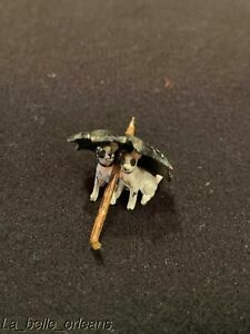 Antique Austrian Cold Painted Vienna Bronze Puppies Under Umbrella With Hole