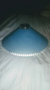 Vintage Mid Century Blue Glass Beaded Glass Ceiling Light Fixture Cover 40 50 S