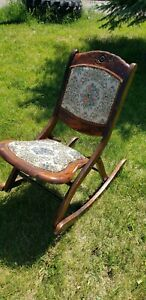 Antique Folding Rocking Chair Vintage Wooden Padded Tapestry Seat