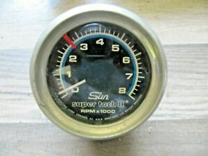 Chrome Sun Super Tach Ii 8000 Rpm Tachometer Mounting Bracket Nice Original