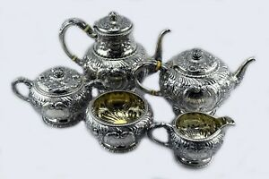 5 Piece Gorham Repousse Sterling Silver Coffee And Tea Set 80 Oz W Waste Bowl