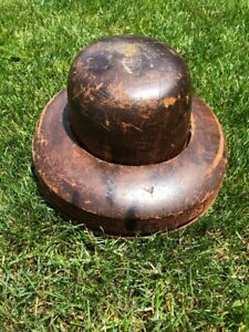Antique Millinery Wood Hat Block Mold Brim Form 2 1 4 6 7 8