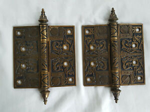 2 Antique Ornate Solid Brass Pair Door Hinges 4 1 2 Large Vintage Late 19th C