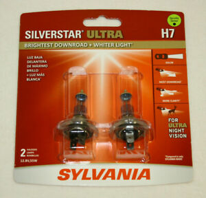 New Sylvania H7 Silverstar Ultra Car Headlight Bulb 2 Pack 2 Bulbs