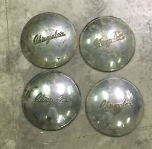 Set Of Four Vintage 1949 Chrysler Dog Dish Hubcaps Good Condition
