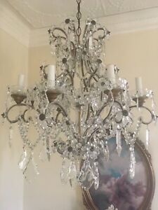 Antique Vintage French Maison Bages Crystal Beaded Flower Chandelier