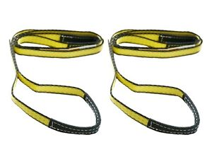 Two 2x 1 X 8 Ft Nylon Polyester Web Lifting Sling Tow Strap 1 Ply Ee1 901