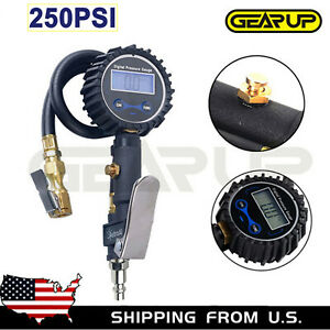 Digital Tire 250 Psi Inflator With Pressure Gauge Air Chuck For Truckcarbike