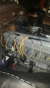 6 cylinder 216 235 Black And Yellow Braided Cloth Spark Plug Wire Set W Looms