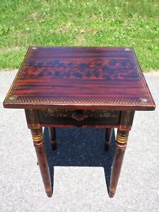 Antique New England Grain Painted Stenciled Entry Table 1 Drawer Work Stand