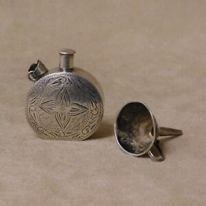Sterling Silver Perfume Bottle Pendant And Funnel
