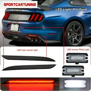 Smoked Lens Led Bumper Reflector Lights Led License Plate For 16 17 Ford Mustang