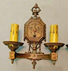 Antique Isco Cast Aluminum Double Candle Sconces Refinished In Bronze Rewired