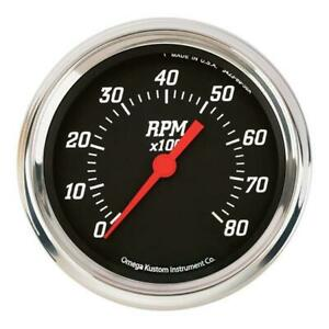 Omega Kustom 8000 Rpm Tachometer Gauge 3 3 8 Black Top