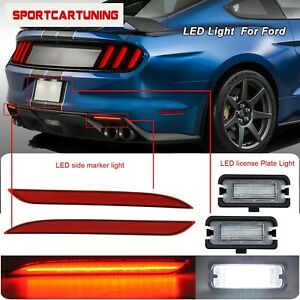 Led License Plate Light Rear Bumper Reflector Lights For 16 17 Ford Mustang