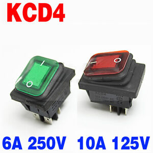 Kcd4 Rocker Switch Waterproof Button Push On off Switch With Green Red Light