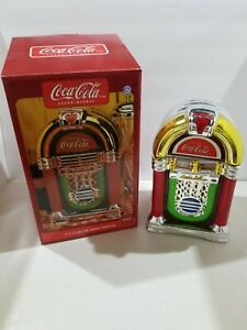 Vintage  style Coca Cola juke box cookie jar chrome ceramic used with the box