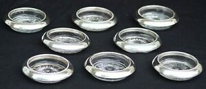 Set Of 8 Frank M Whiting Co 04 Sterling Silver Glass Coasters 3 3 4 Round