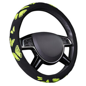 Universal Yellow Rubber Print Butterfly Car Steering Wheel Cover For Suv Sedan