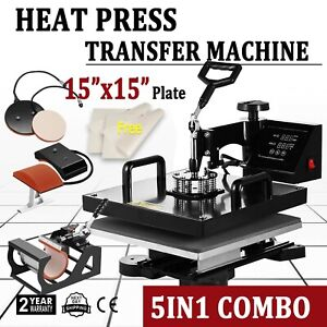 5in1 T shirt Heat Press Sublimation Transfer Machine 15 x15 Swing Away Mug Hat