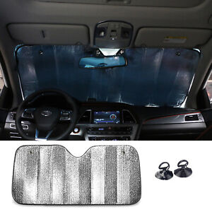 Auto Folding Jumbo Windshield Sun Visor Shade Car Cover Front Rear 55 27 Inches