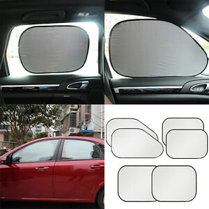 6pcs Sun Shade Visor Protector Heat Car Window Windshield Rear Front Uv Block