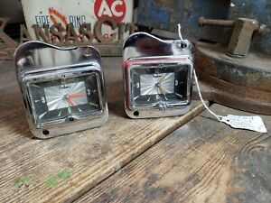 Nice Pair Original 1954 Ford Borg Dash Clock Oem 54 Fomoco Original Dazel Face