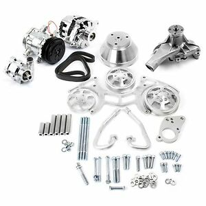 Sbc Polished Serpentine Pulley Kit Complete With Chrome A C Alternator P S