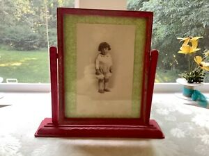 Old Pivoting Wood Picture Frame With Glass Tilting Vintage