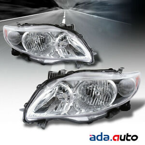 For 2009 2010 Toyota Corolla Chrome Headlights Replacement Lamps Left Right Set