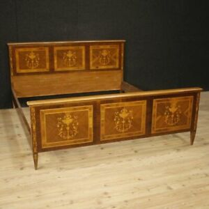 Double Bed Antique Style Louis Xvi In Inlaid Wood Furniture Bedroom Vintage 900
