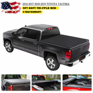 Leather Tri Fold Soft Tacoma Tonneau Cover For Toyota 5ft 60in Black Truck Bed