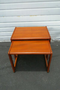 Danish Mid Century Modern Teak Pair Of Nesting Side End Tables 9804