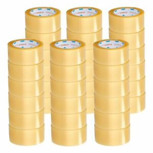 Yellow Transparent Hybrid Packaging Packing Tape 2 Mil 48mm X 100m 144 Rolls