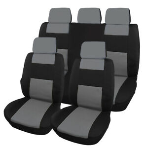 Full Set Car Seat Covers Front Rear Head Rests For 5 Seater Auto Sedan Suv Van
