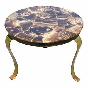 Vintage Mid Century Modern Muller S Of Mexico Brass Onyx Round End Side Table