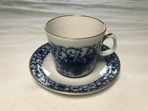 Vintage Cobalt Blue And Gold Tea Cup And Saucer Made In Russia 4 5 Wide