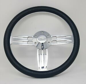 14 Inch Polished Black Steering Wheel Fits Ford Horn 6 Hole Cars Trucks