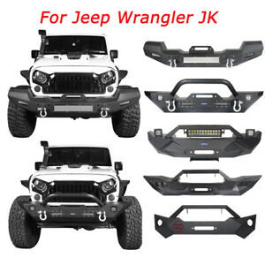 Black Steel Front Bumper Protector W Winch Plate For Wrangler Jeep Jk Jku 07 18