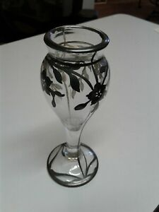 Antique 6 1 4 Inch Tall Sterling Silver Overlay On Glass Vase