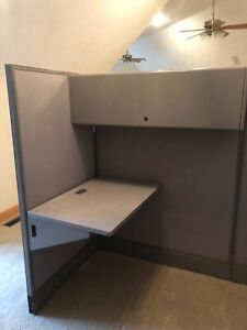 Modular Office Wall Partition Desk Surfaces And Enclosed Cabinets