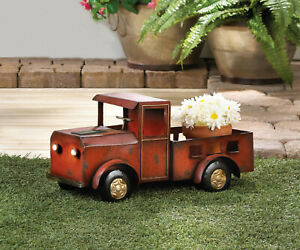 Rustic Vintage Truck Red Country Path Solar Light Led Lamp Outdoor Art Statue