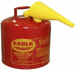 5 Gallon Safety Gas Can Eagle Ui 50 fs Red Galvanized Steel Type Funnel