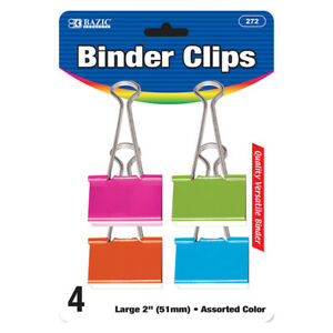 New 401794 Large 2 Inch 51mm Assorted Color Binder Clip 4 Pack 24 pack